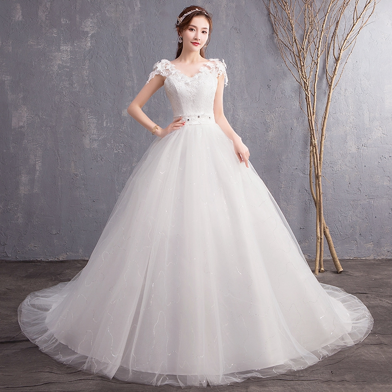 White Elegant Wedding Dresses V Neck Slim Fit Lace Bridal Ball Gown Dresses Shopee Indonesia