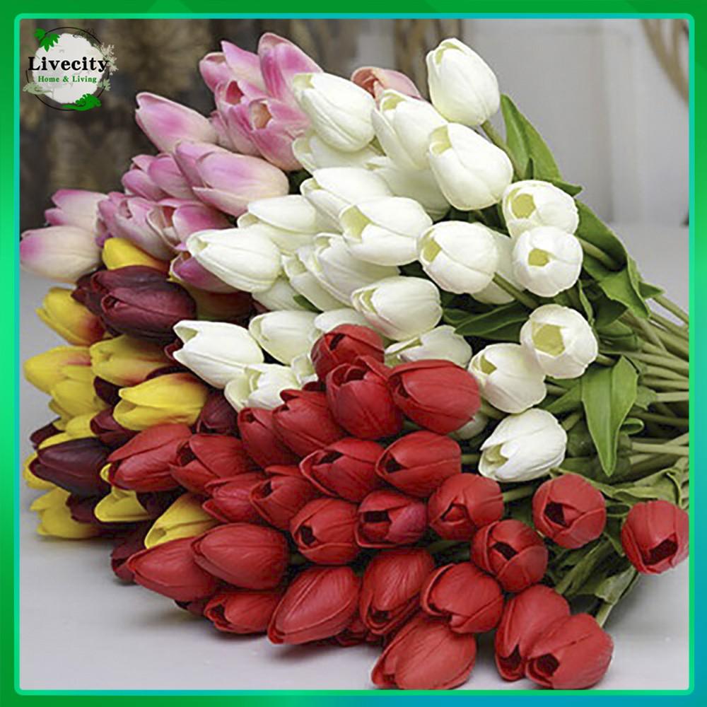 Bayar Di Tempat Pretty Latex Real Touch Artificial Silk Tulip Flower Wedding Bouquet Home Dcor Shopee Indonesia