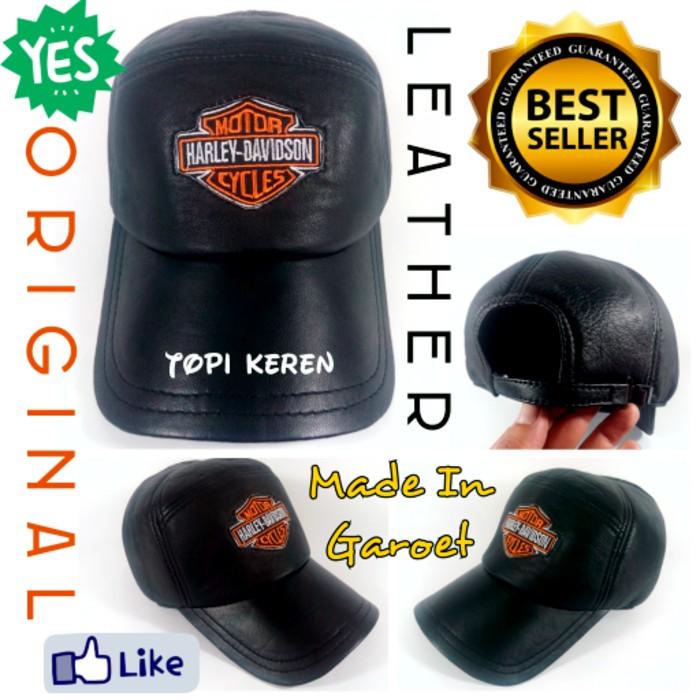 Topi pria cowok Kulit Asli Domba Garut lembut Logo HD Keren kualitas bagus  rapi murah import branded  68e251fe56