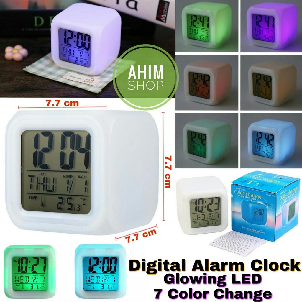 Jam Moody Kubus Weker Pengukur Suhu Digital Alarm Clock 7 LED Color Change  Glowing Thermometer Clock  2c4e0e250a