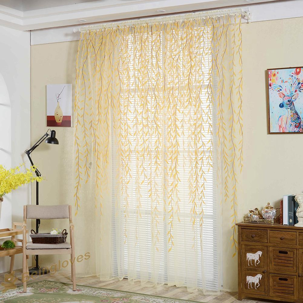 Be Pastoral Style Willow Floral Window Curtain Bedroom Living Room Decor Shopee Indonesia