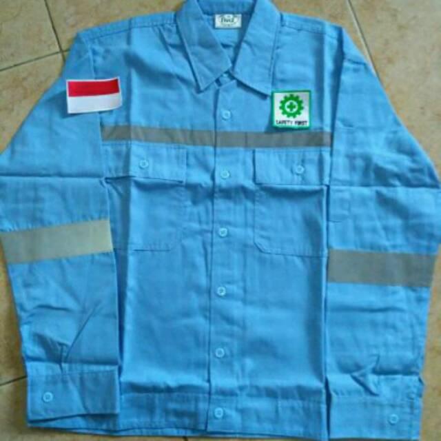 Baju Safety Atasan Lengan Panjang Warna Telur Asin Logo Shopee Indonesia