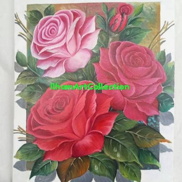 Lukisan Bunga 3 Dimensi Ukuran 80x60 90x60 Shopee Indonesia