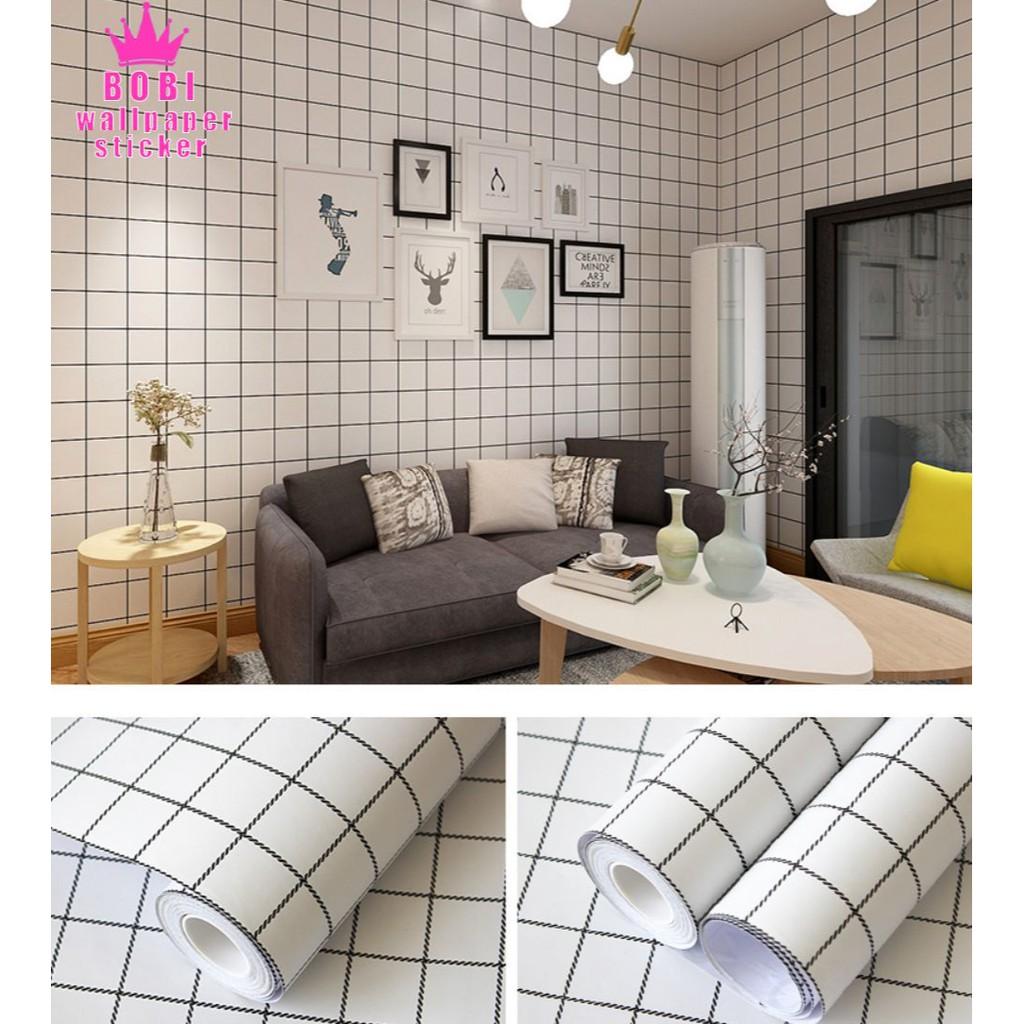 wallpaper sticker motif garis kotak hitam putih 5309