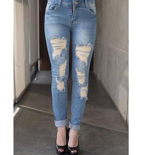 Celana Jeans Jumbo Wanita Variasi Ripped Tint Green Jeans Bigsize >>> price checker - only Rp181.041