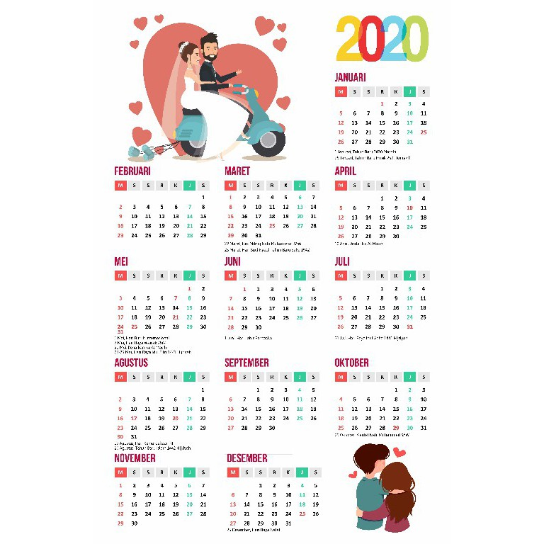 Kalender Dinding 1 Tahunan (12 bulan) 2020 Custom Foto ...