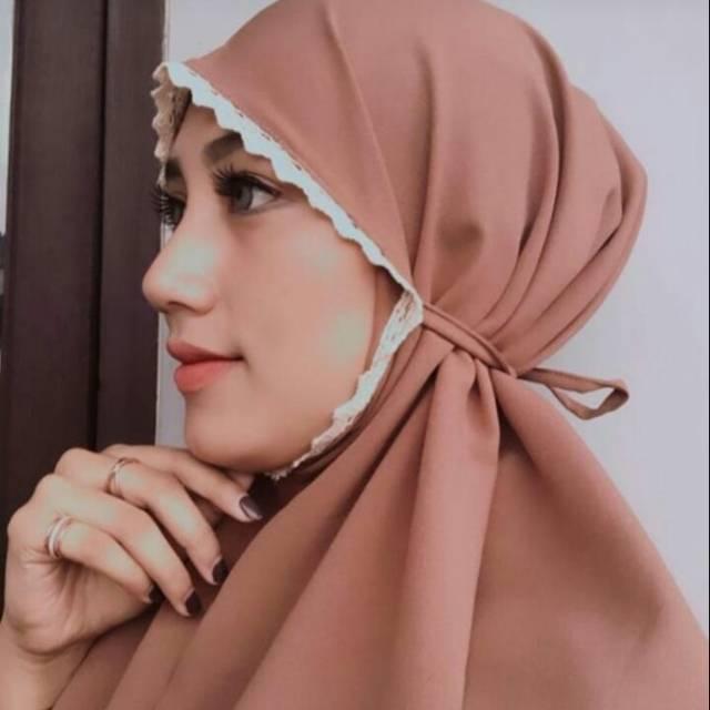 Khimar Bergo Aisyah Bahan Diamond Bergo Maryam Aisyah Bergo Maryam Renda Shopee Indonesia