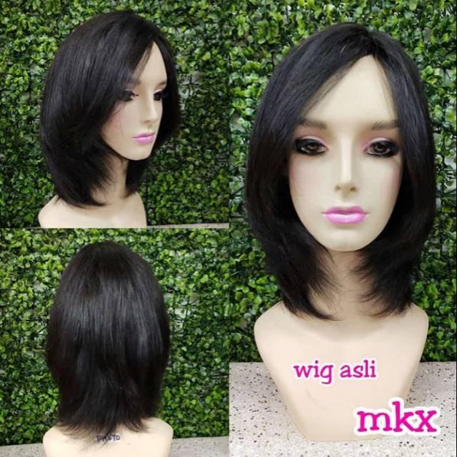 Rambut Asli Wanita Wig Rambut Asli Pendek Segi Shopee Indonesia