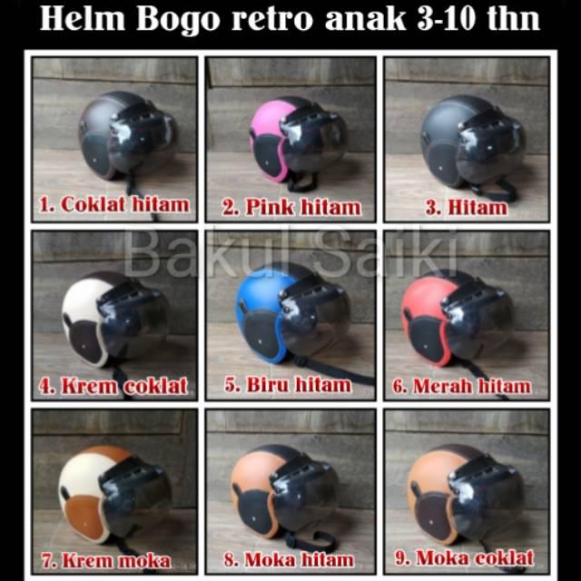 Helm bogo anak 3-10 tahun polos kombinasi warna berbeda desain elegan ada jg motif karakter kartun   Shopee Indonesia