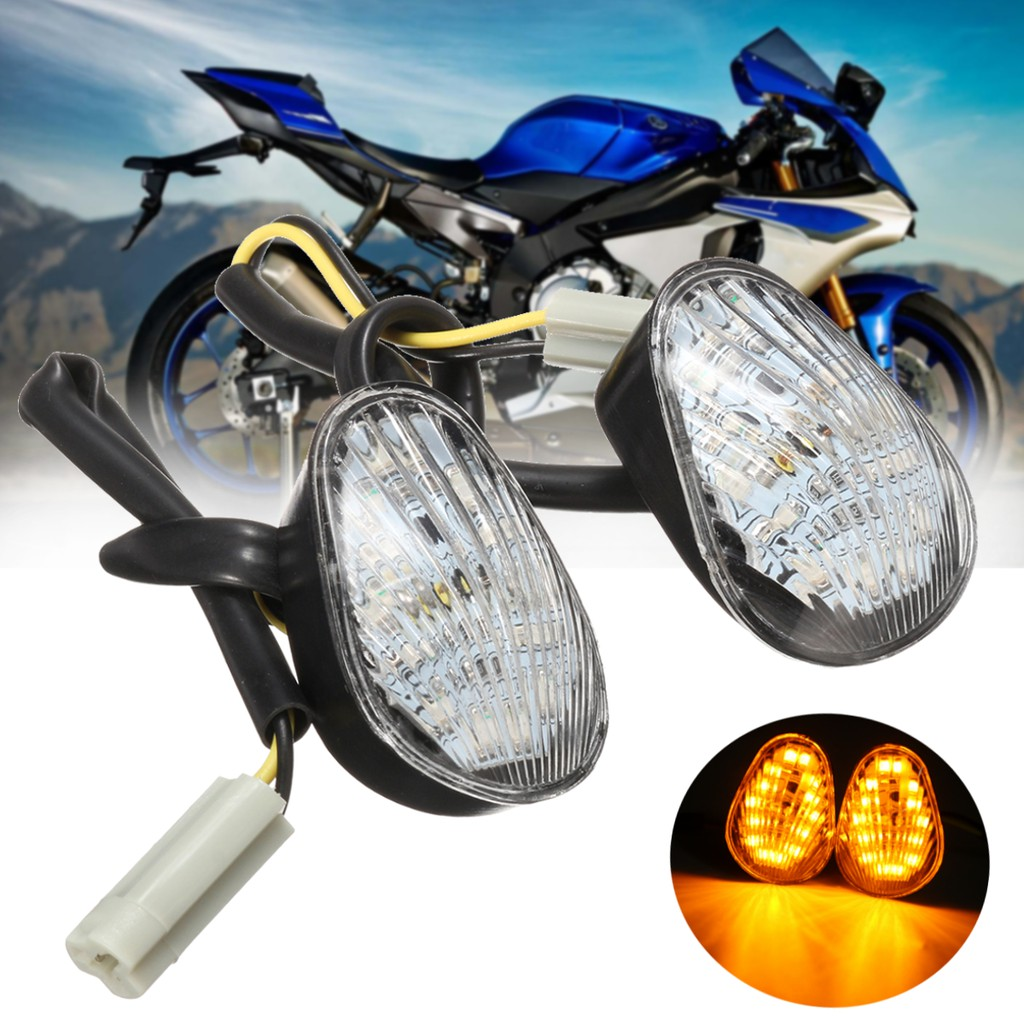 Clear LED Turn Signal Light 1 Pair Amber LED Indicator Lamp Flush Mount for YZF R1 R6 R6S