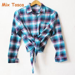 (4) PROMO !!! kemeja flanel ikat cewek kotak tartan crop top tali jangkis murah casual simple