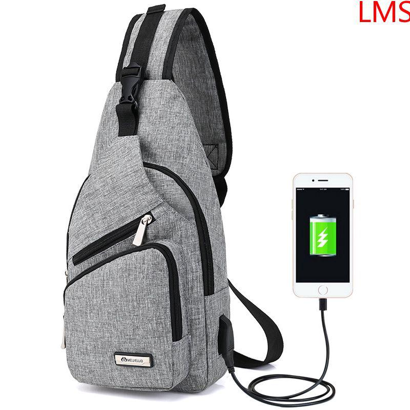 LMS Unisex Sling Bag Portable Shoulder Bag Crossbody Bags Teenager USB Charge | Shopee Indonesia