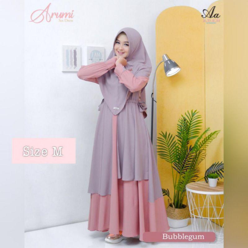 Moslem ORI Gamis busui friendly Arumi Dress set by Aden (ready warna dan saiz sesuai foto produk)