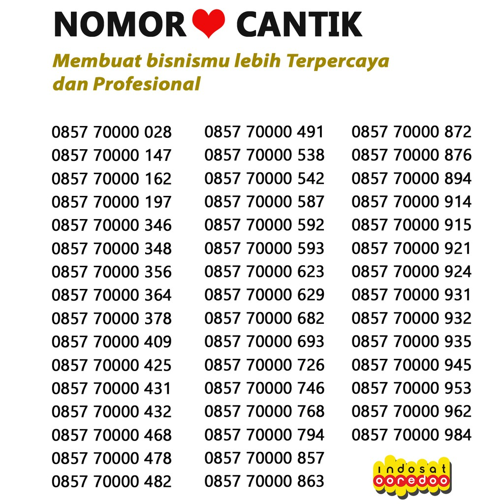 PANCA + ESA NOMOR CANTIK TELKOMSEL AS | Shopee Indonesia -. Source · Indosat IM3