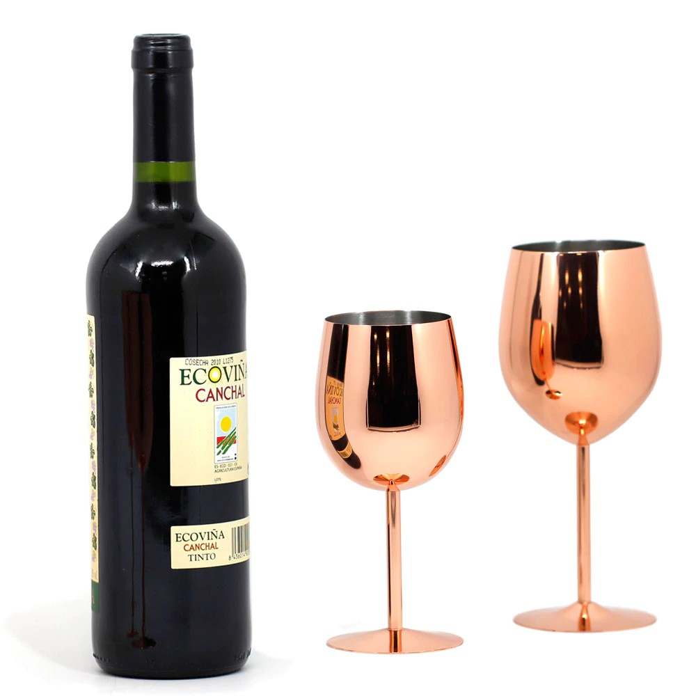 Free Ongkir 2pc 550 350ml Stainless Steel Wine Glasses Rose Gold Copper Mirror Finish Champagne Shopee Indonesia