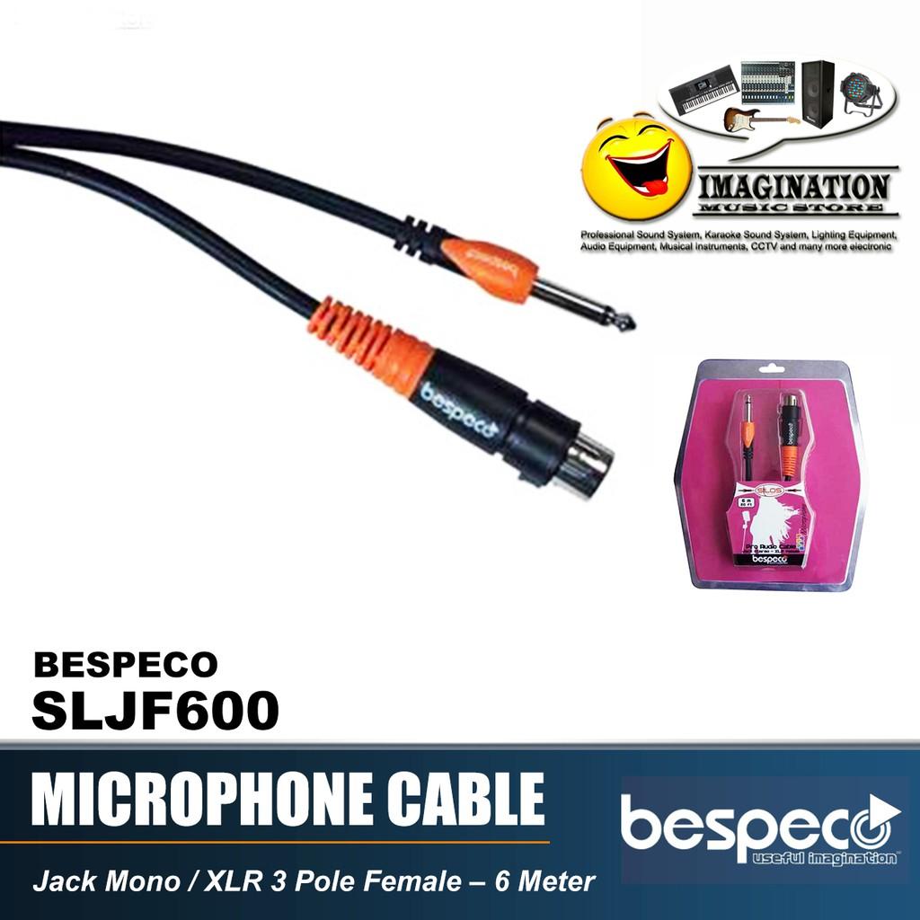 Kabel Microphone Bespeco SLJF600 Jack XLR Female to Jack Mono - Mic Cable Jack Canon -