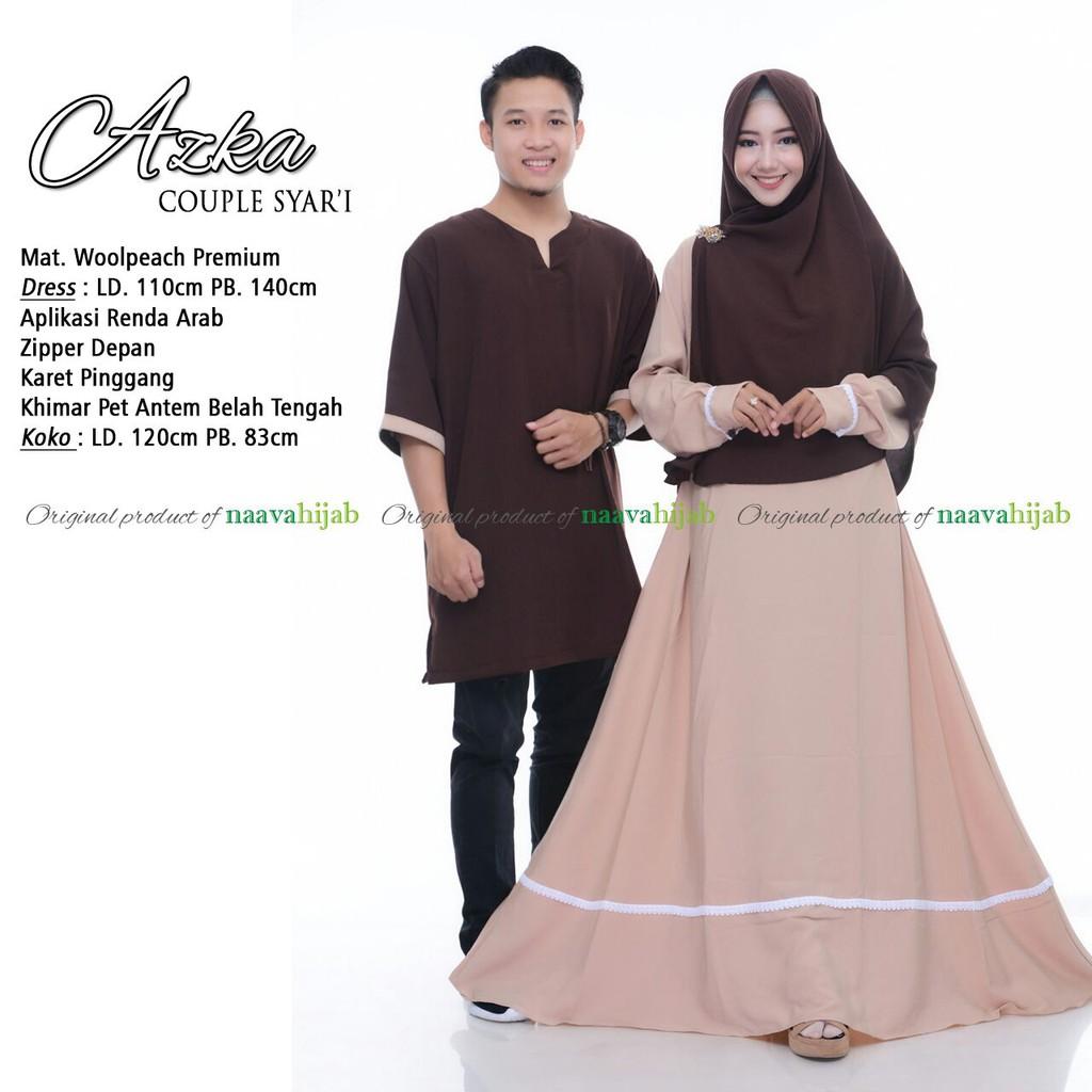 Al Firdaus Couple Cantik Polos Ori Najwa Gamis Pesta Kemeja Koko Baju Muslim Prada Gold Kombi Lengan Pendek Bahan Rami Super Shopee Indonesia