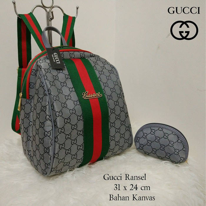 (Limited) Tas Wanita Ransel Gucci Keren Lagi Hits Hotlist Kanvas Backpack  Coklat  103839a39a