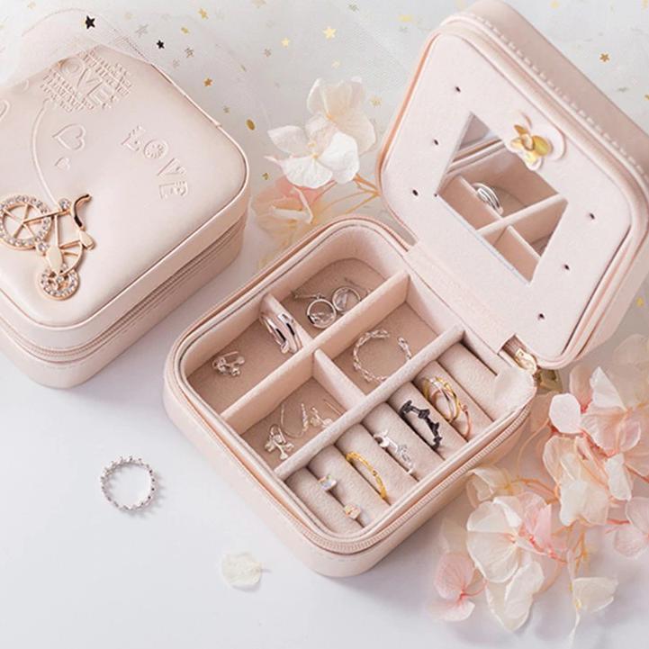 List,.P666➦ Mini Kotak Perhiasan Travel Jewelry Anting Kalung Cincin Box Penyimpanan Emas.s❂
