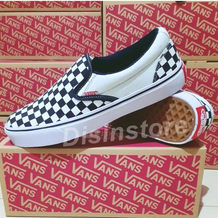 Sepatu Vans Slip On Og Motif Catur Checkerboard Black Hitam White