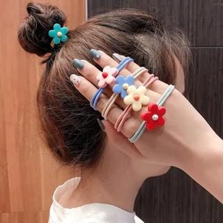 5Pcs Ikat Rambut Elastis Motif Bunga Gaya Korea untuk Wanita thumbnail