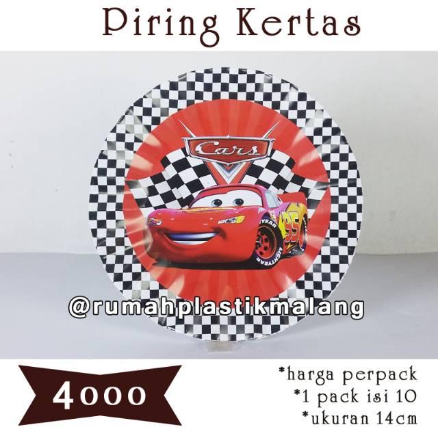 Piring Kertas Kue Ulang Tahun Paper Plate Alas Tart Cars Mcqueen Mobil Mc Queen Happy Birthday