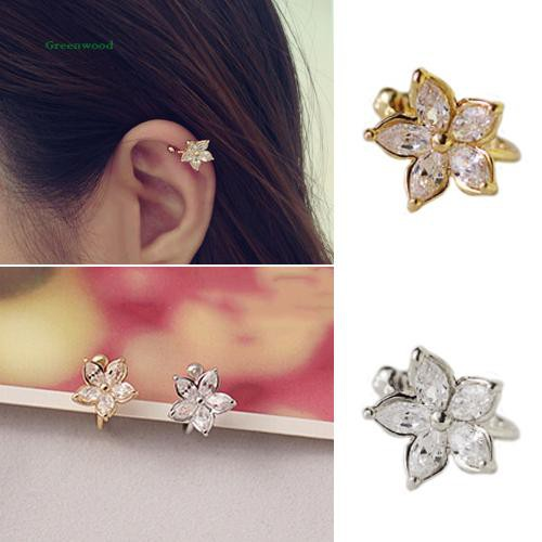 GW_1Pc Women's Fashion Cz Crystal Flower U Shape Ear Cuff Clip-on No Piercing Earring