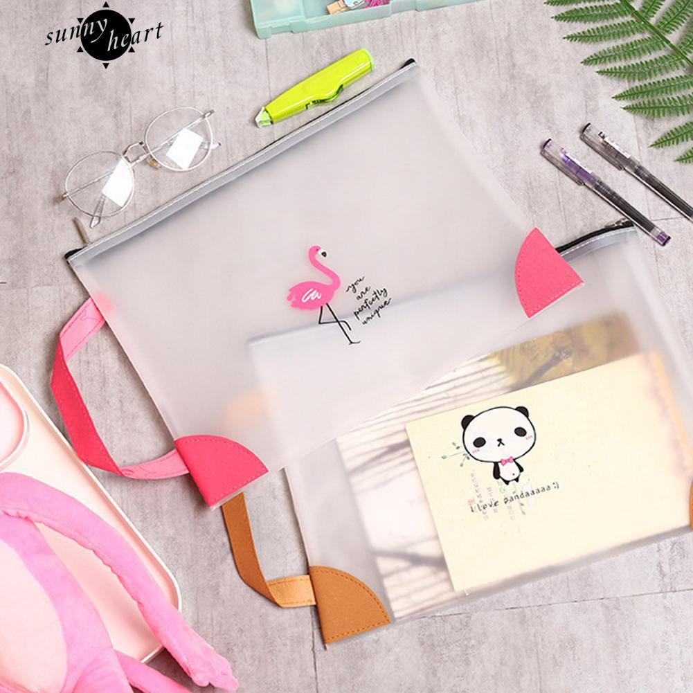Lucu Flamingo Panda Zipper Transparan Menangani Folder Mahasiswa Stationary
