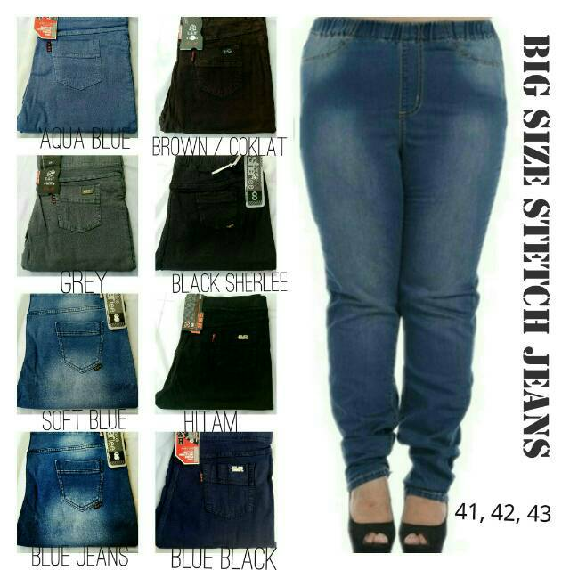Celana Legging Jeans Stretch Wash Big Size Jumbo 41 43 Shopee Indonesia