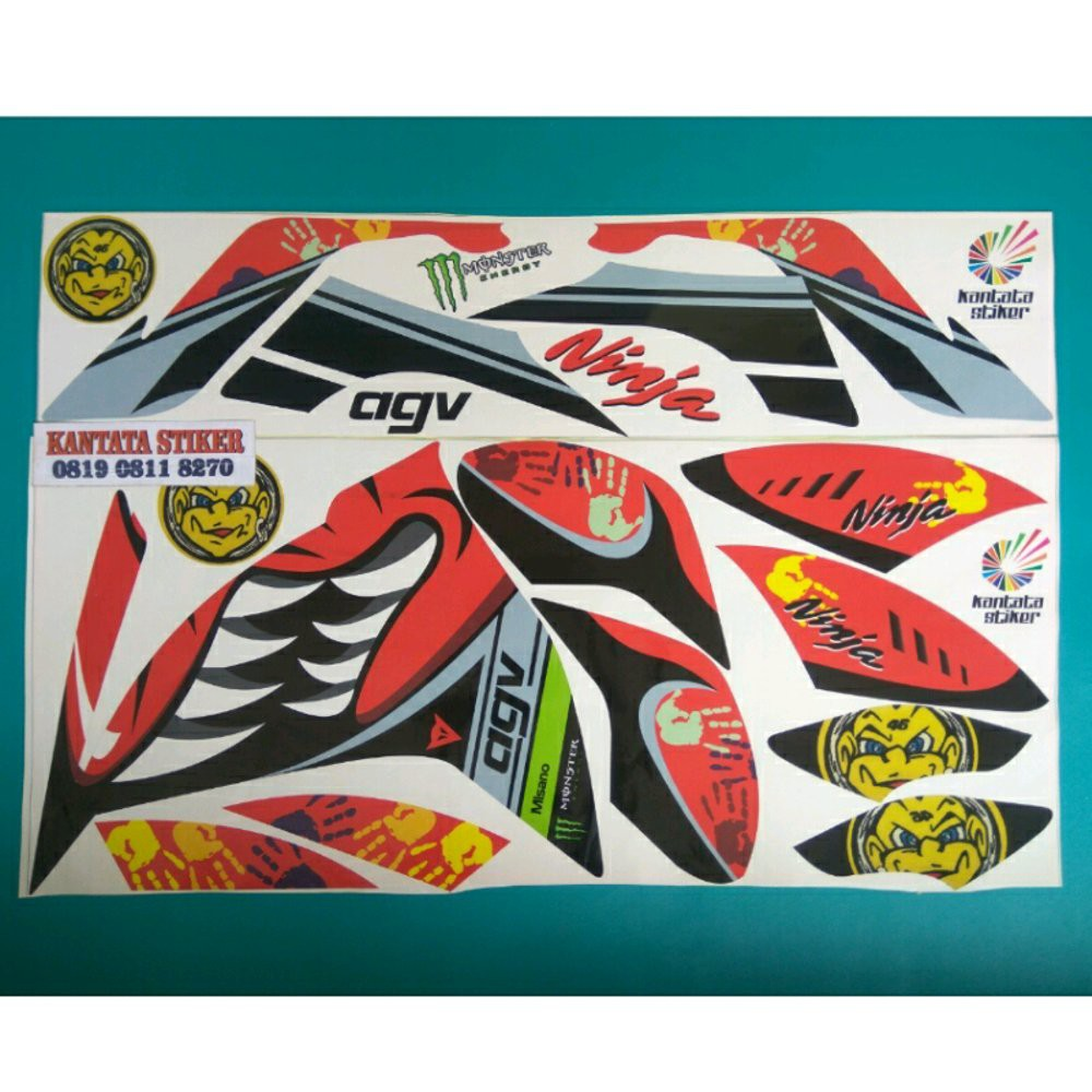 Unik stiker striping motor ninja 250 fi shark merah limited shopee indonesia