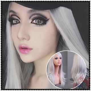 Wig Rambut Palsu Wanita Model Keriting Panjang 65cm Warna Silver Untuk Cosplay Anime thumbnail