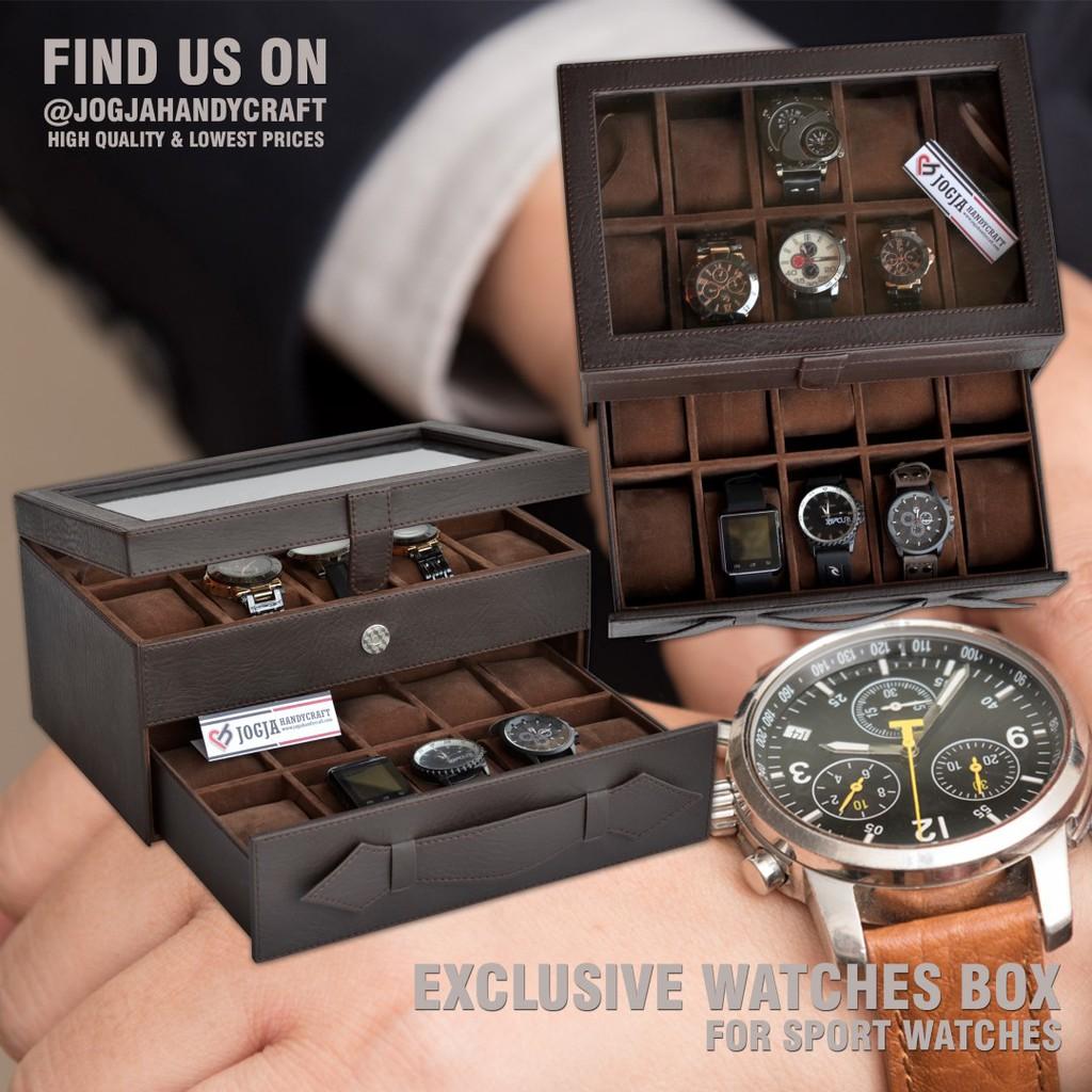 Box Tempat Jam Tangan Isi 3 Perhiasan Aksesoris Brown Coklat Full For Traveler Sport Kotak Jumbo Watch Organizer Shopee Indonesia
