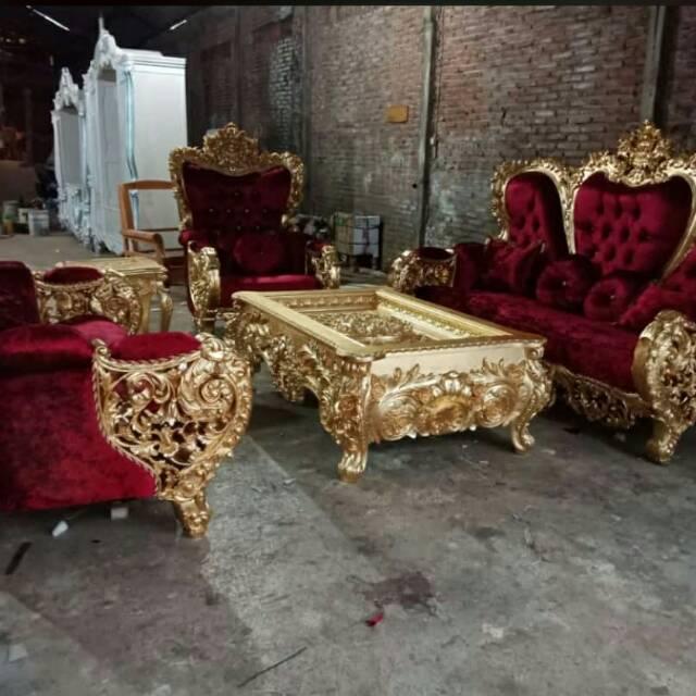 Kursi Tamu Jati Royal Kursi Tamu Ukir Royal Mewah Buatan Jepara Asli Bellagio Shopee Indonesia