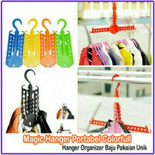 Magic Hanger Gantungan Baju Pakaian Multifungsi Portabel Wonder Hanger Colorfull | Shopee Indonesia
