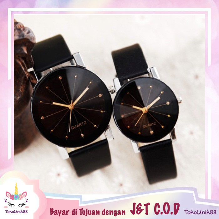 TU88 Jam Tangan Couple J-110 Pria Wanita Tali Kulit Import Gaya Korea Fashion Leather Quartz -