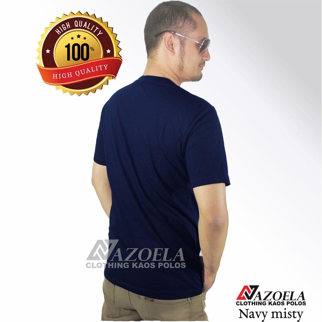 Baju Kaos Polos Blue Misty Original Catton Combed 30s Reaktiv Navy Unisex Shopee Indonesia