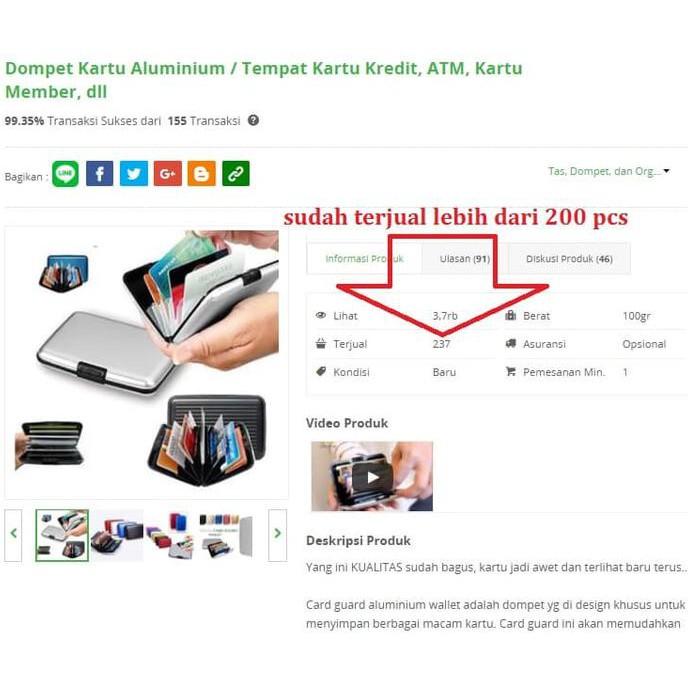 CARD GUARD ALUMINIUM ALLUMA WALLET DOMPET ATM, UANG, KARTU KREDIT KTP   Shopee Indonesia