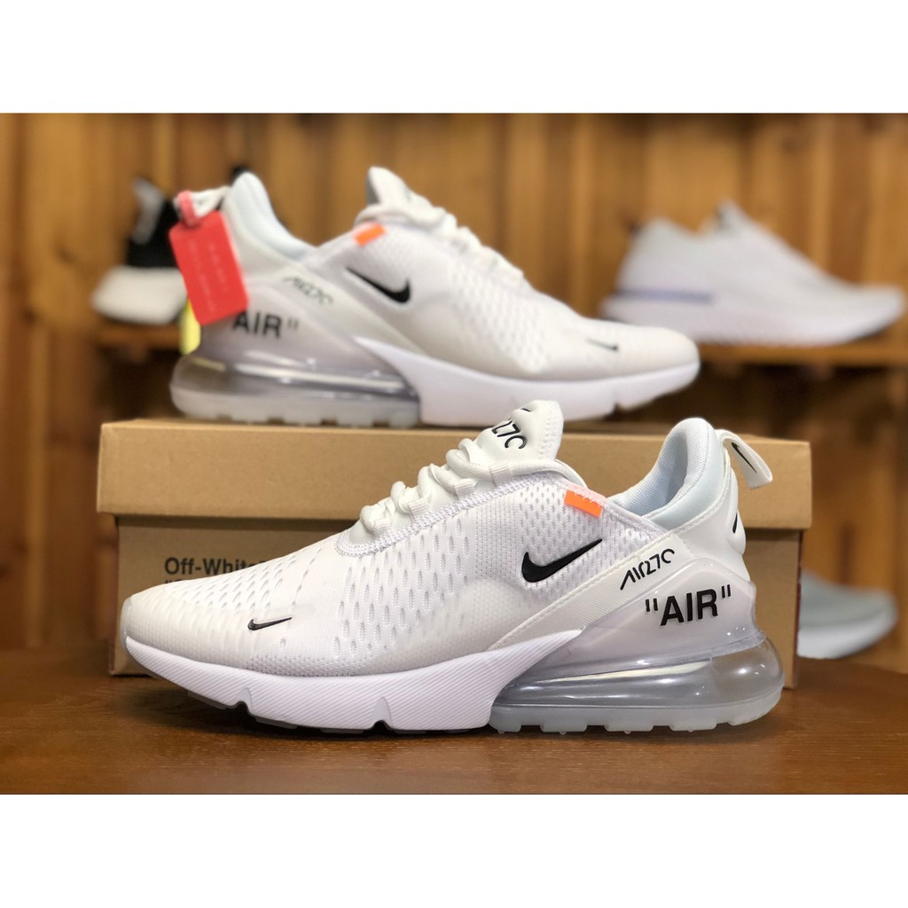 Men & Ladies Nike Air Max 270 Triple White Off White High Premium Original