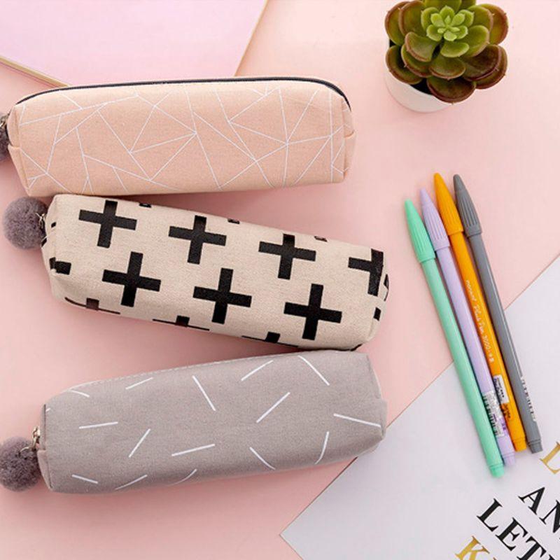 Korean Version New Plush Ball Pencil Case Cute Zipper Girl Pen Holder Stationery