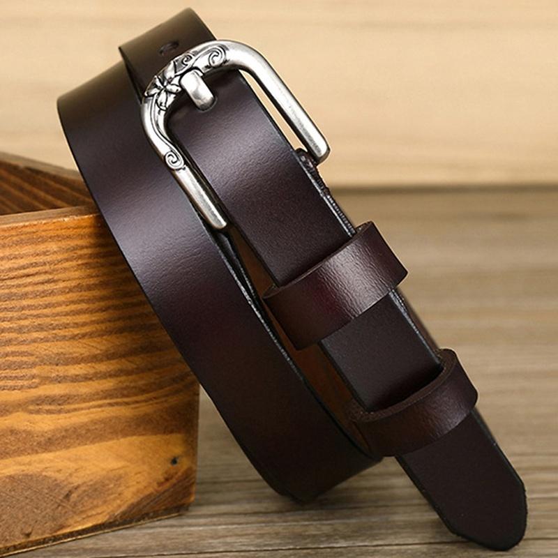 red Lalang Women Leather Belts Silver Buckle Waist Belt
