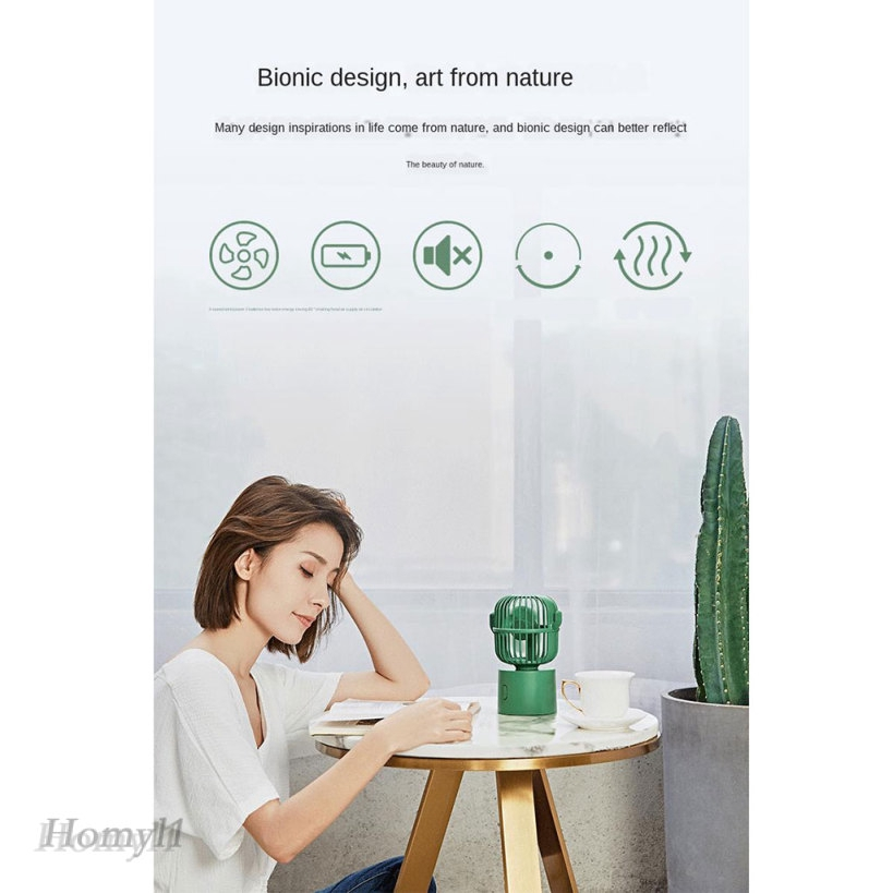 USB Table Desk Personal Fan Cactus Bionic Shape Personal Handheld Mini Fan with 3 Speeds for Home Office Outdoors Travel for Home Office Table Color : White, Size : One Size