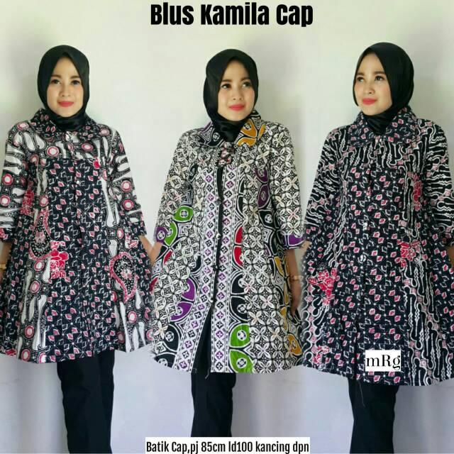 Blus Batik Cap Berkualitas Baju Muslim Blus Batik Modern Grosir Atasan Batik Premium Modern
