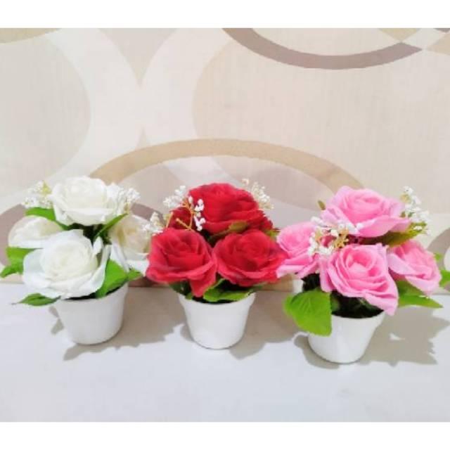 Bunga Mawar Plastik Rose Holland Vas Pot Artificial Shabby Chic Shopee Indonesia