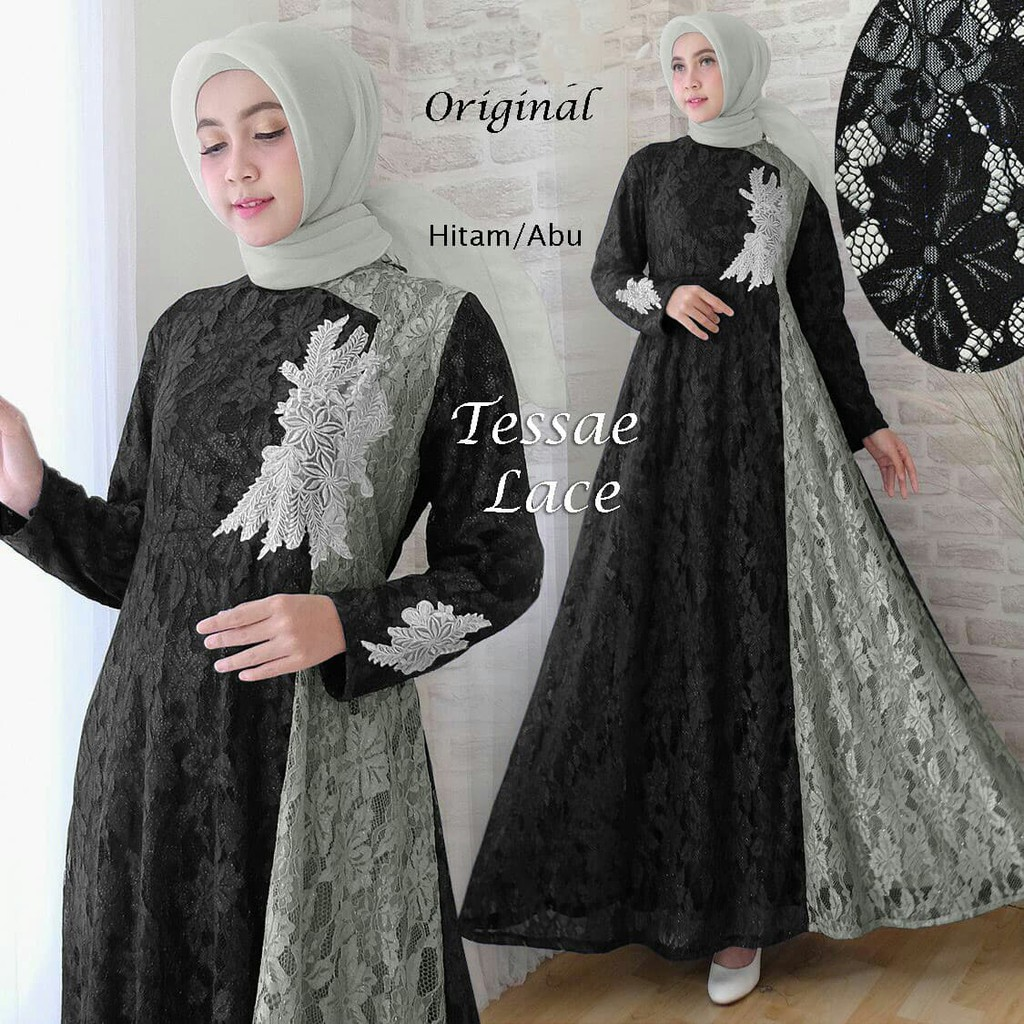 A30 Baju Gamis Pesta Muslim Remaja Wisuda Modern Elsa Brukat Warna