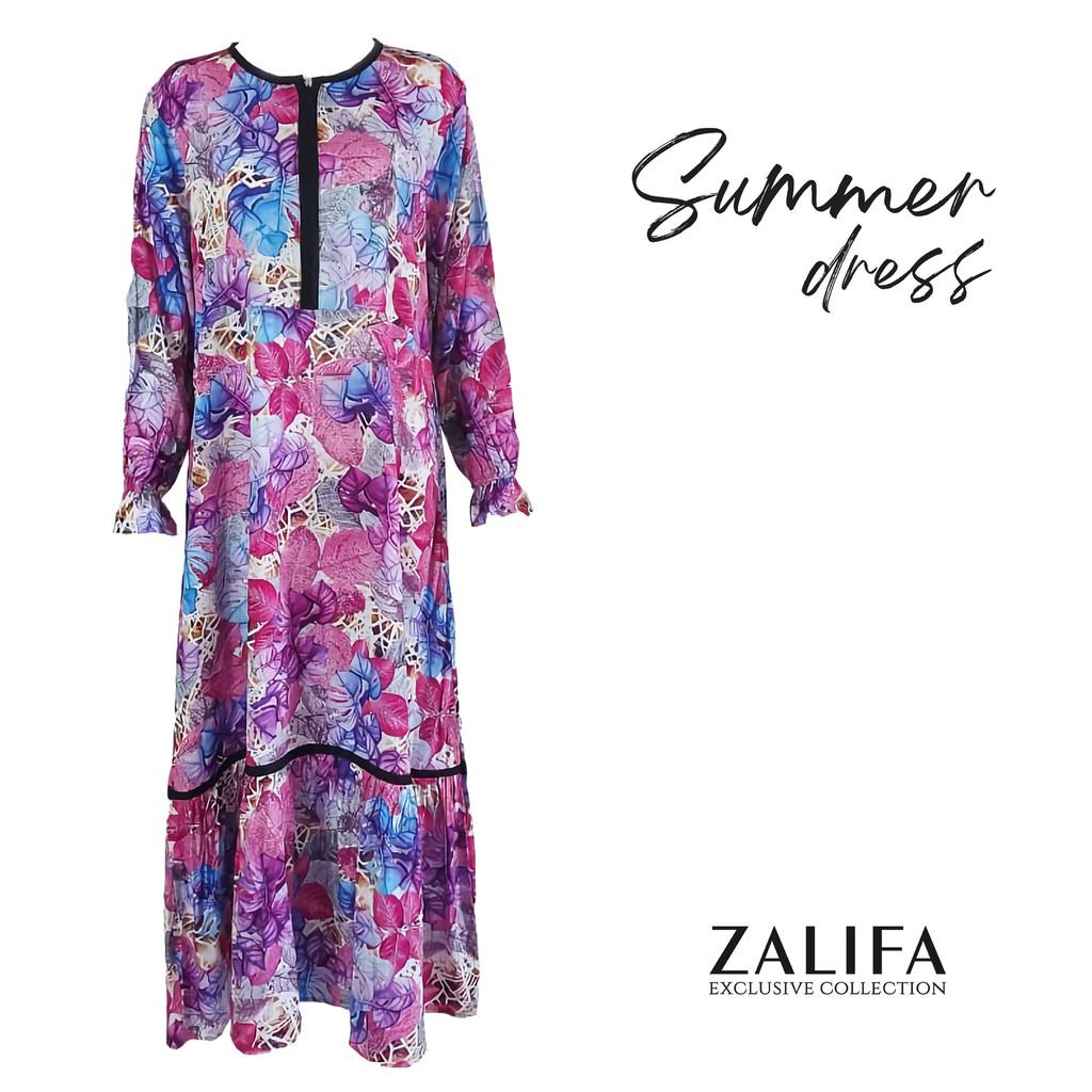 SUMMER DRESS by Zalifa Exclusive Collection - Baju Muslim Wanita - Gamis