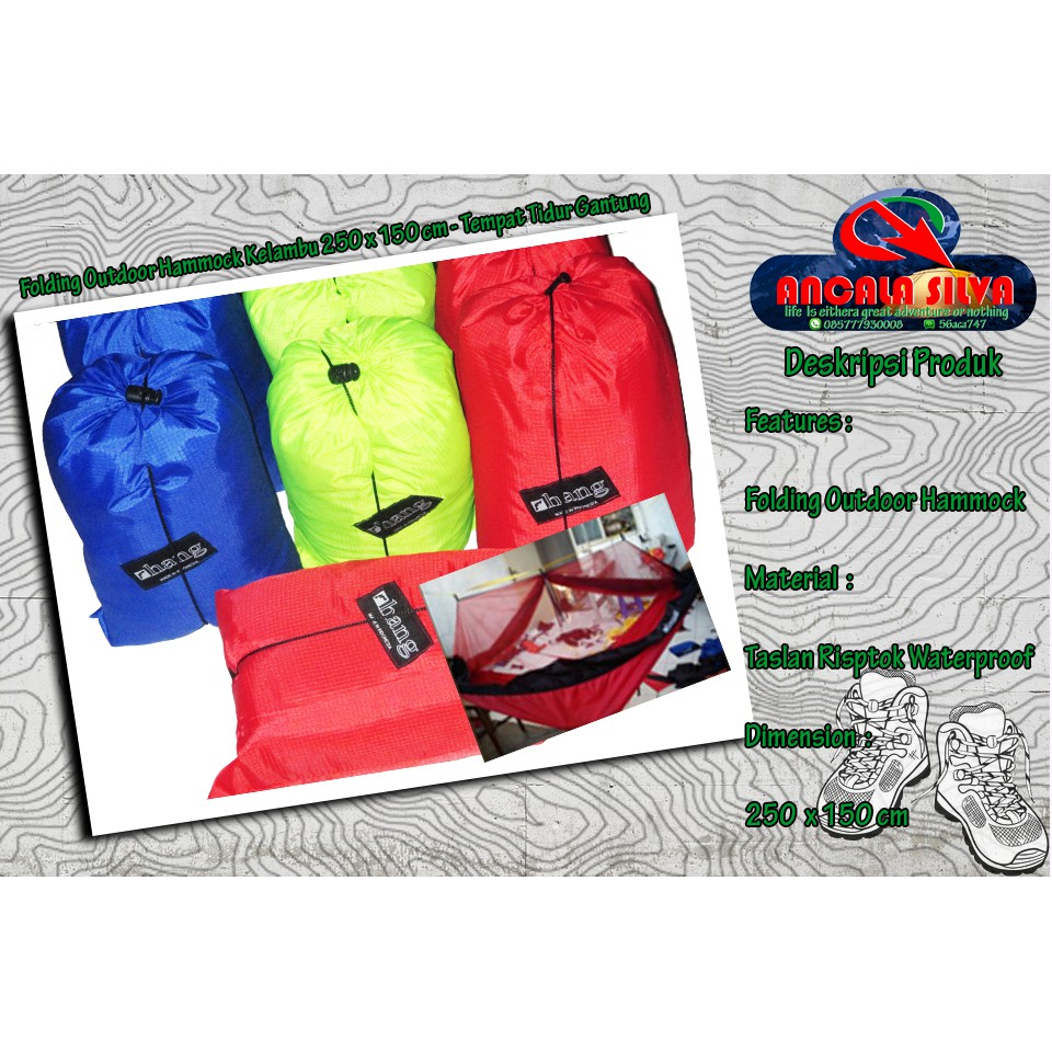 Folding Outdoor Hammock 145 X 240 Cm Tempat Tidur Gantung Color Single Hamock All Shopee Indonesia