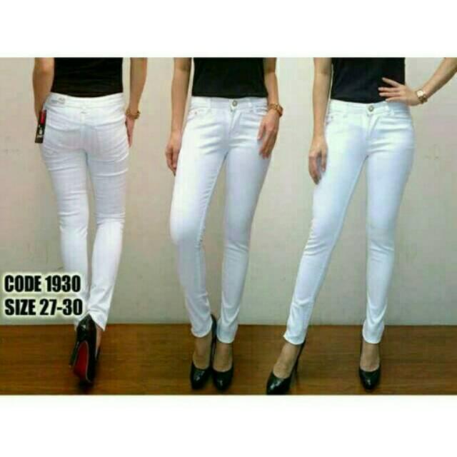 Jeans Putih Skinny Slimfit Melar Legging Shopee Indonesia