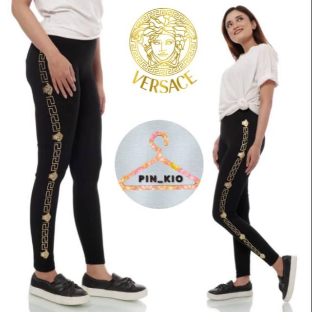 Celana Legging Wanita List Vercase Lagging Fashion Ootd Terbaru List Sablon Samping Shopee Indonesia