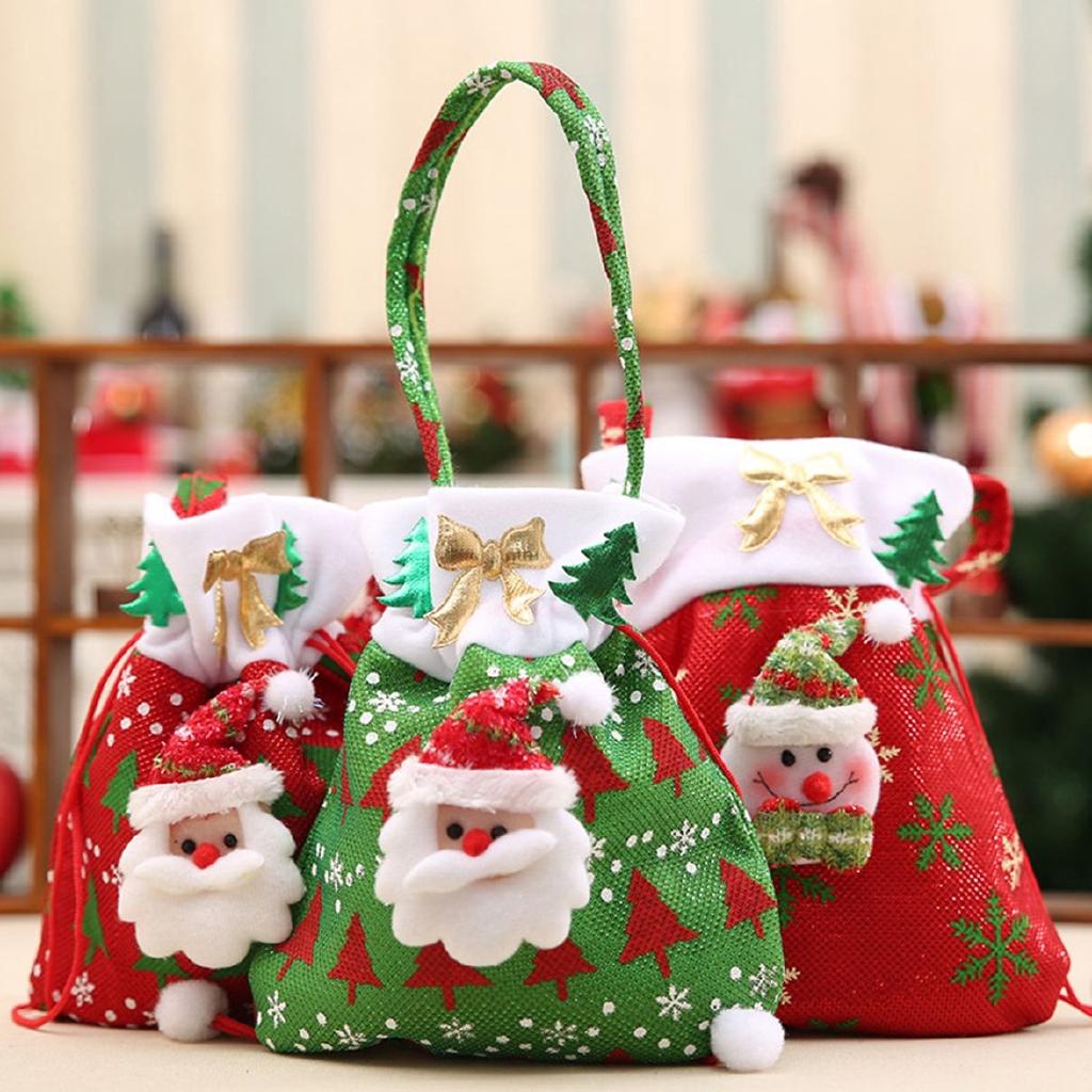 [Bayar Di Tempat]Christmas decorations new Santa Claus Snowman gift bags Christmas candy bags