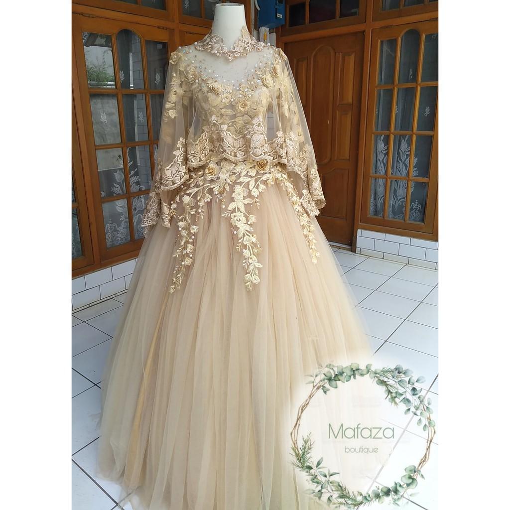 gaun pengantin ball gown mocca